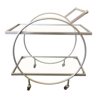 1960s Art Deco Two Tier Matte Silver Bar Cart For Sale