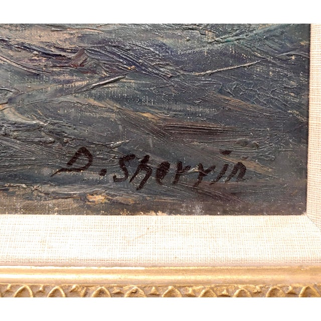 """Canvas Daniel Sherrin the Elder """"Clipper Ship"""" Seascape Oil Painting, 19th Century For Sale - Image 7 of 10"""