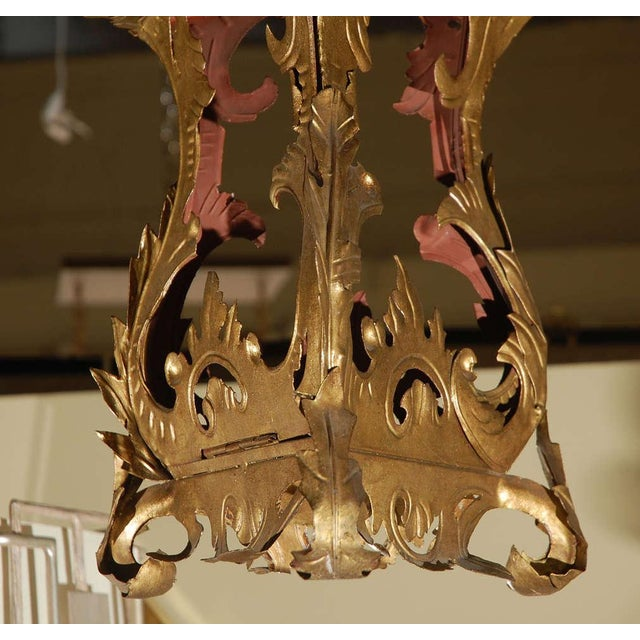 Italian Venetian Style Tole Lantern Larger Pendant For Sale - Image 3 of 7
