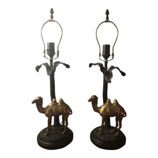 Vintage Bronze and Brass Camel Palm Lamps- a Pair For Sale
