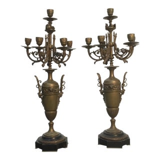 19th Century French Bronze Candelabras on Black Stone Bases - a Pair For Sale