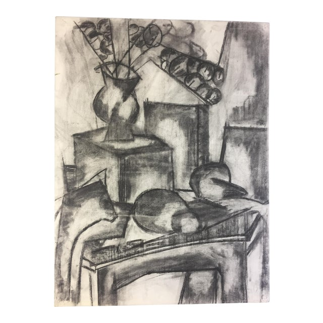 1950s Henry Woon Mid Century Charcoal Still Life For Sale