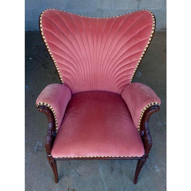 Wood Vintage Pink Velvet High Back Chair For Sale - Image 7 of 10