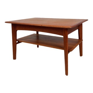 Vintage Danish Teak Side Table W Shelf For Sale