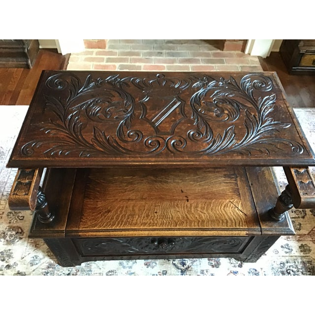 Late 19th Century Antique Brown Monks Bench For Sale In Richmond - Image 6 of 13