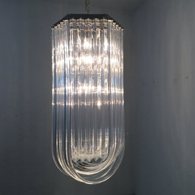 Silver Lucite Ribbon Chandelier For Sale - Image 8 of 10