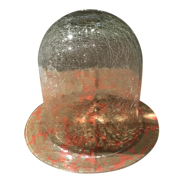 20th Century Traditional Crackled Glass Bell Display Cloche For Sale