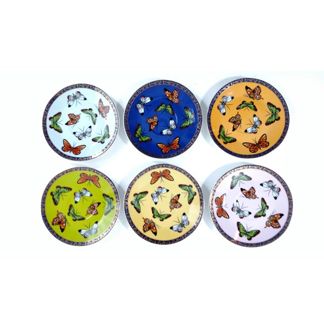 Porcelain Butterfly Cups & Saucers - S/6 - Image 3 of 8