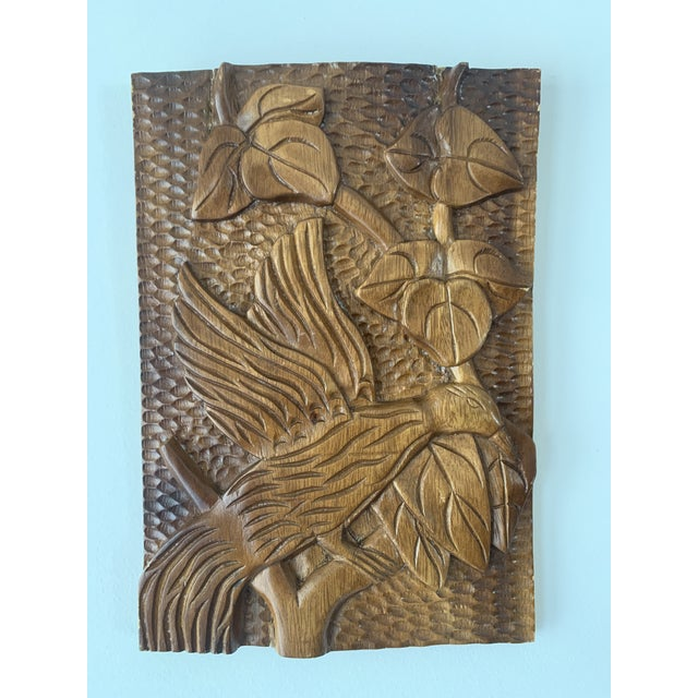 Brown Mid Century Phillipine Hand Carved Wood Wall Plaque For Sale - Image 8 of 9