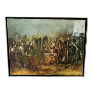 Vintage Russian Original Oil on Canvas Painting Signed For Sale