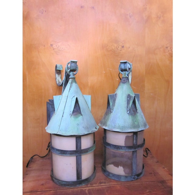 1910s Arts and Crafts Era Mission Style Verdigris Patina Laterns-a Pair For Sale - Image 4 of 13