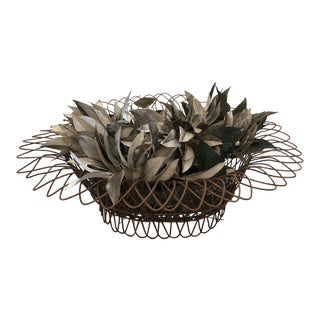 19th Century Wire Basket Planter With Decorative Tole Leaves For Sale