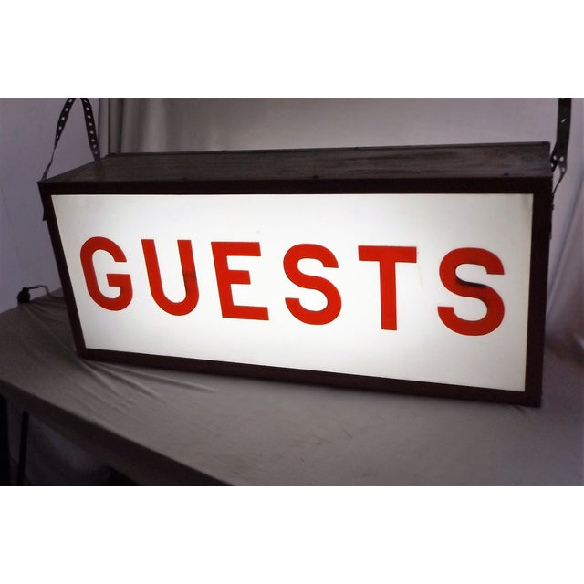 """Vintage Double-Sided Lit """"Guests"""" Sign - Image 3 of 10"""