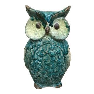 Vintage Turquoise Ceramic Owl