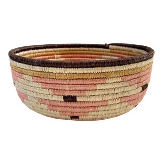 Pale Blush Sozi Catch All Woven Bowl For Sale