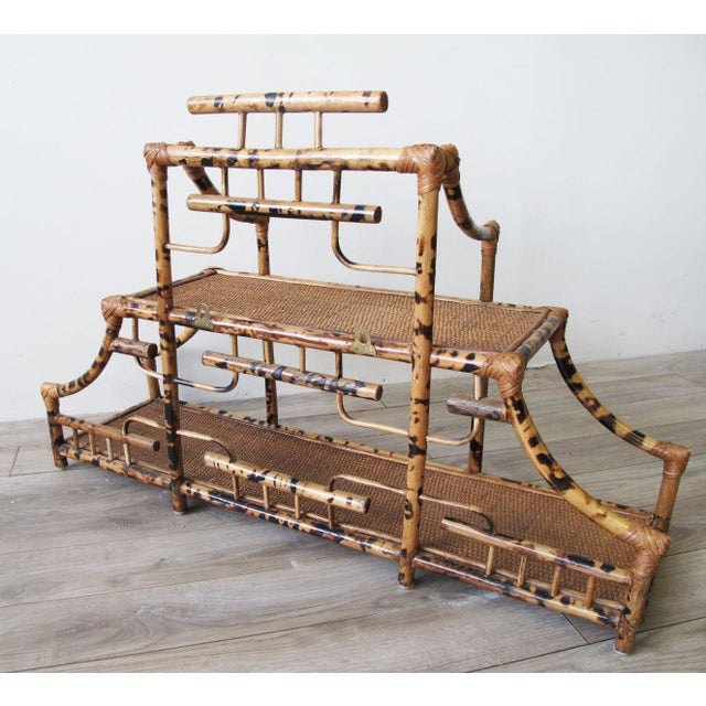 Asian 1960s Chinoiserie Pagoda Style Bamboo Wall Mounted Etagere For Sale - Image 3 of 9