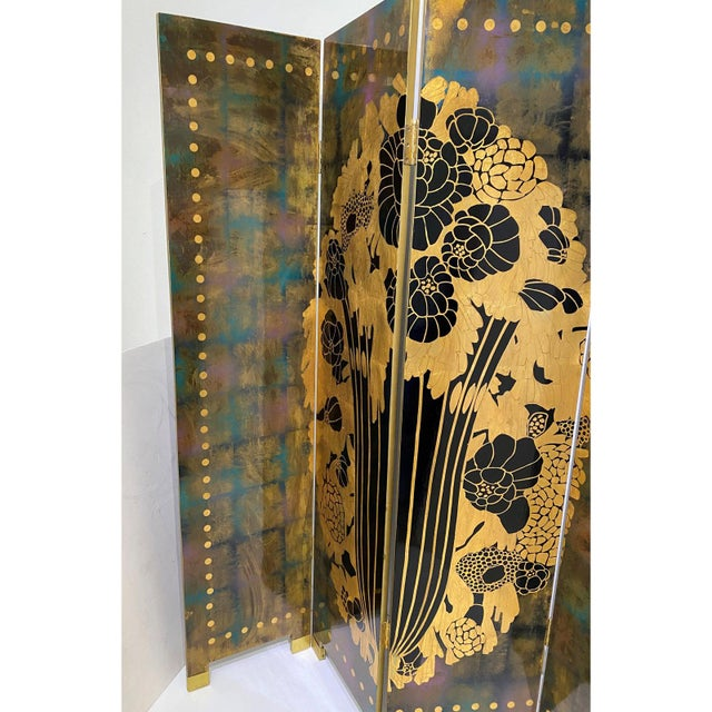 Metal Vintage Art Deco E J Ruhlmann Style 4-Panel Room Divider Screen For Sale - Image 7 of 13