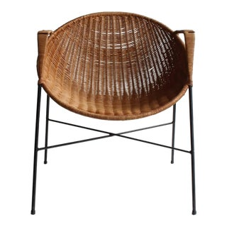 Mid-Century Vintage Wicker & Iron Armchair For Sale