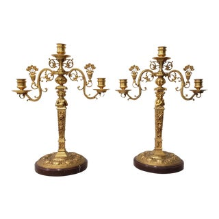 Remarkable Pair of 19th Century Matching French Gilded Bronze Candelabras For Sale