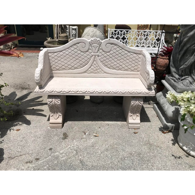 Sand Cast Stone Garden Bench From Morocco For Sale - Image 4 of 4