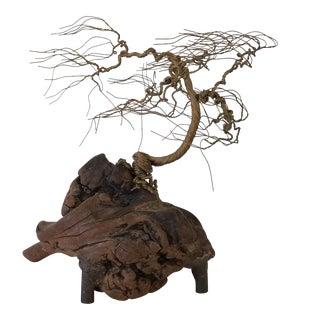Vintage Handmade Brass Wire Tree Sculpture For Sale