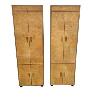 Mid Century Milo Baughman Style Olive Burl Wood Scene Two Hendredon Tower Wardrobe a Pair For Sale
