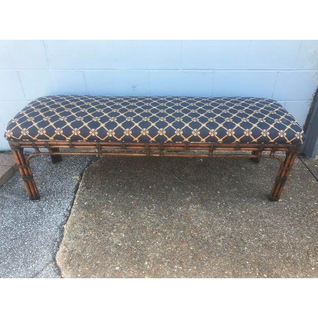 1990s 1990s Vintage Henredon Long Upholstered Rattan Bench For Sale - Image 5 of 10