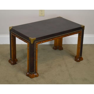 Drexel Et Cetera Vintage Faux Bamboo Leather Wrapped Parsons Coffee or Side Table Preview