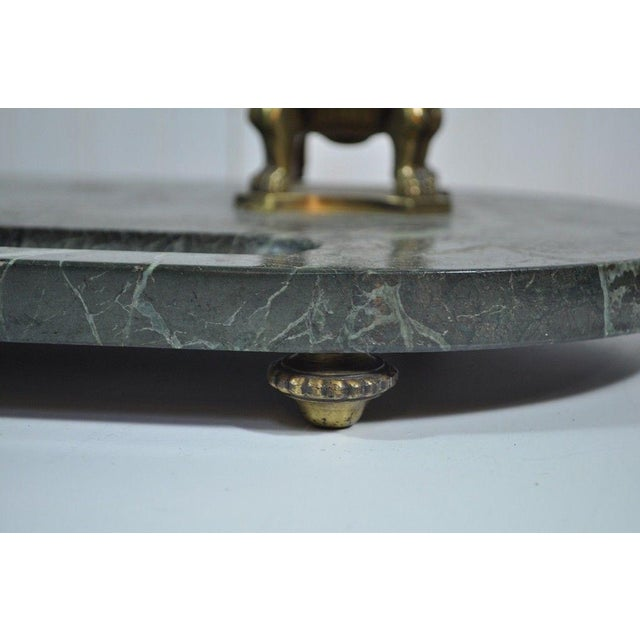 Antique French Empire Style Figural Bronze Green Marble Double Inkwell Neoclassic - Image 7 of 11