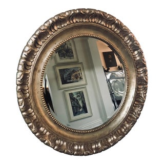 Round Silver and Gold Leaf Mirror For Sale