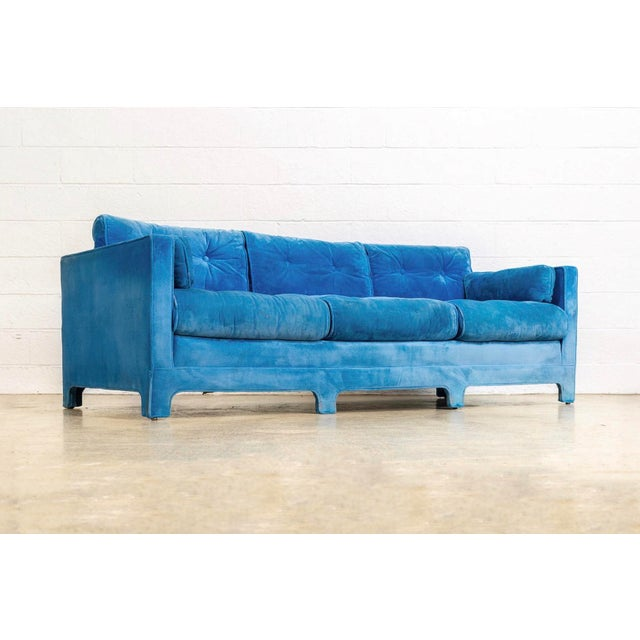This incredible vintage mid century modern sofa couch circa 1970 has an elegant low profile with clean lines and gentle...