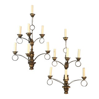 Rench Gold Seven-Light Wooden Water Gilt Sconces -A Pair For Sale