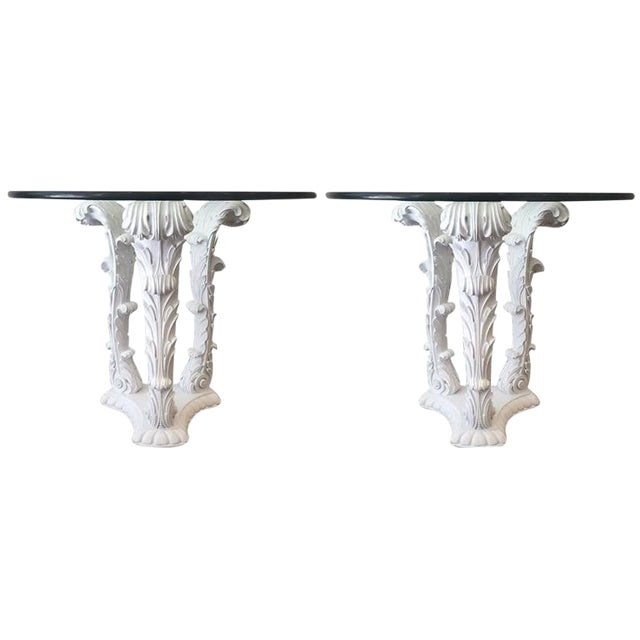 Pair of Serge Roche Carved Wood Tables For Sale