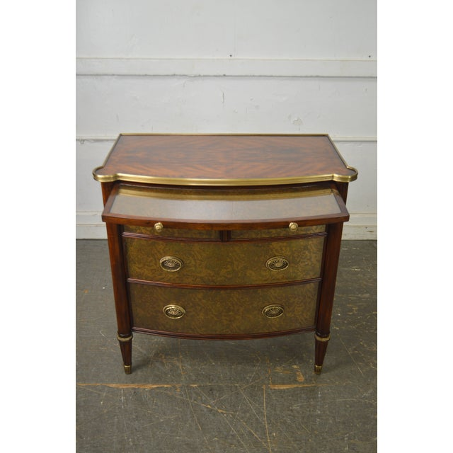 Theodore Alexander Regency Style Eglomise Flame Mahogany Bow Front Veneto Chest For Sale In Philadelphia - Image 6 of 13