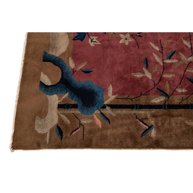 Early 20th Century Antique Art Deco Chinese Red Wool Rug For Sale In New York - Image 6 of 13