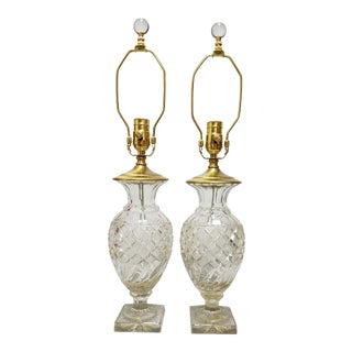 Cut Glass Lamp-A Pair For Sale