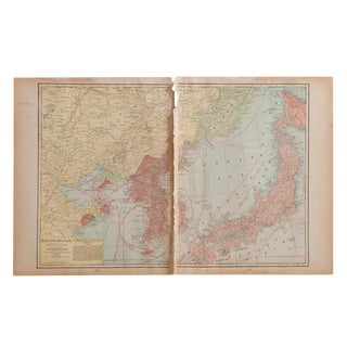 Cram's 1907 Map of Korea For Sale