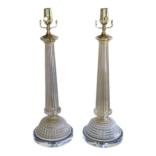 1950s Barovier Murano Gold White Column Table Lamps - a Pair For Sale