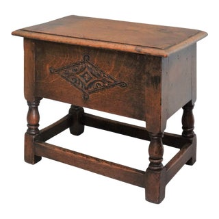 19th-Century English Elm Wood Joint Stool With Storage For Sale