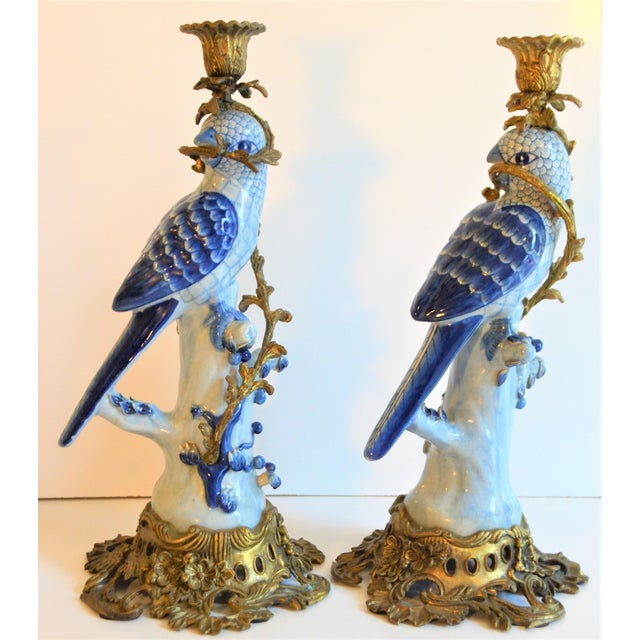 Blue (Final Markdown Taken) 1980s Blue and White Porcelain Ormolu Parrot Candlesticks - a Pair For Sale - Image 8 of 10