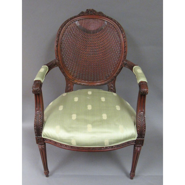 Vintage Fairfield Louis XVI Style French Upholstered Cane Back Bergere Chair For Sale - Image 11 of 11