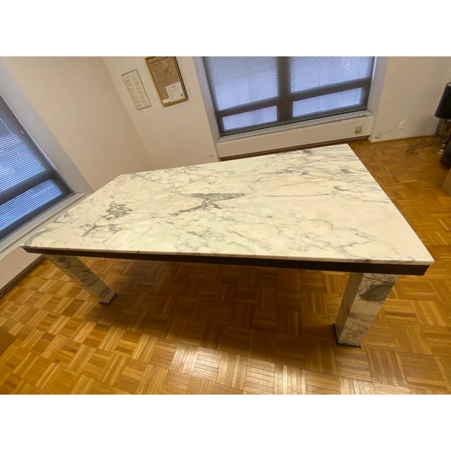 Stone 1970s Vintage Calacatta Marble Dining Table For Sale - Image 7 of 13