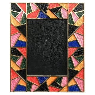 Multi-Color Crocodile Skin Gold-Plated Photo Frame by Fabio Ltd For Sale