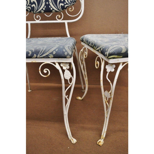 Metal Vintage French Art Nouveau Wrought Iron Floral Dining Chairs - Set of 4 For Sale - Image 7 of 13