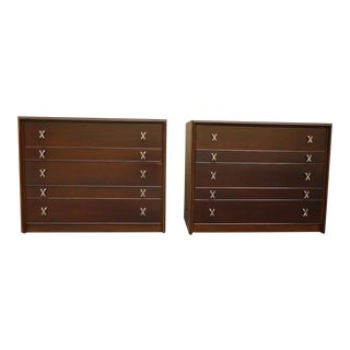 1940s Mid-Century Modern Paul Frankl X Drawer Pull Bachelor Chests - a Pair For Sale