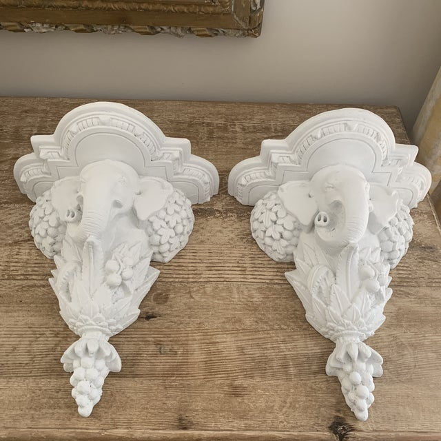 White Gampel-Stoll Style Hollywood Regency White Plaster Elephant Wall Brackets - a Pair For Sale - Image 10 of 10