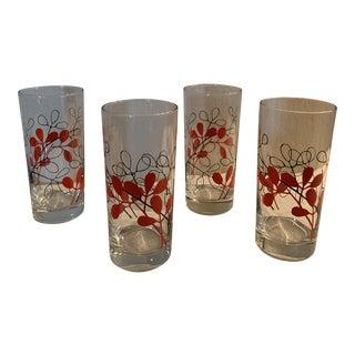 Vintage Black & Red Foliage Glasses - Set of 4 For Sale