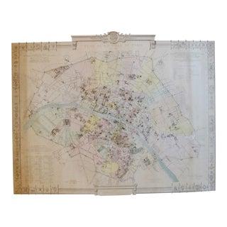 1887 Original French Map of Paris, La Ville De Paris en 1789 For Sale