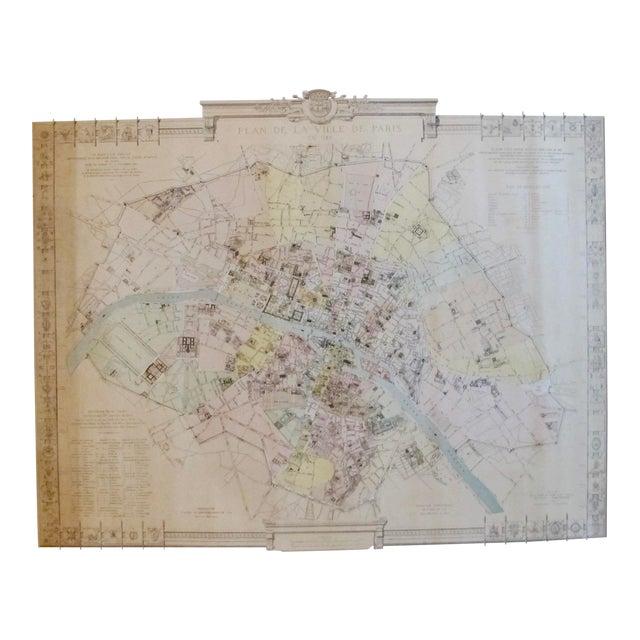Map Of France In 1789.1887 Original French Map Of Paris La Ville De Paris En 1789 Chairish