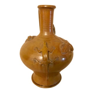 Redware Pitcher with Applied Insects and Animals For Sale
